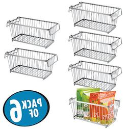 mDesign Household Stackable Wire Storage Organizer Bin Baske