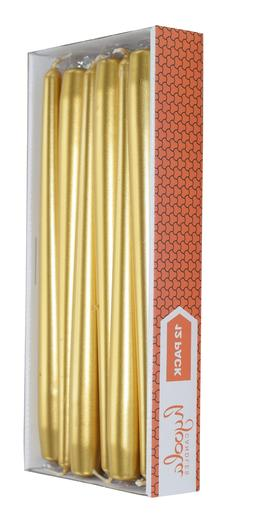 Metallic Gold Tapered Candles Long Burning for All Occasions