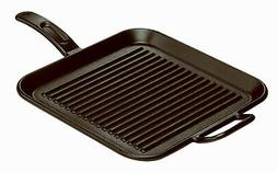 LODGE MFG 12 Inch Square Seasoned Cast Iron Grill Pan with a