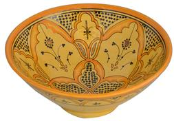 Moroccan Spanish Large glazed ceramic bowl Salad Pasta Soup