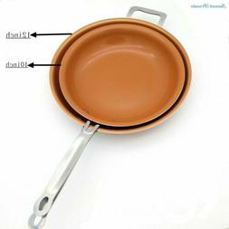 New 10 / 12 Inch Round Frying Pan - Skillet with Ceramic Non