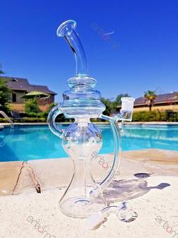 New 12 inch Recycler Bong Hookah Glass Water Pipe Bubbler To
