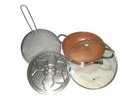 NEW 4 PIECE COPPER WOK SET 12 INCH NON STICK 6 IN 1 STEAM FR