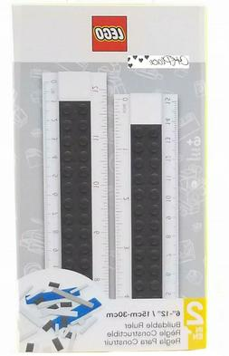 New LEGO Buildable 6-12 Inch Ruler Black