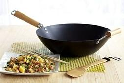 New Nonstick WOK Carbon Steel 12 Inch With Wooden Handles Fr