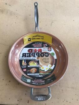 "New Telebrands Red Copper 12"" inch Frying Pan As Seen On TV"