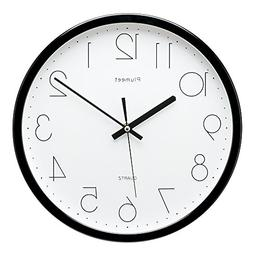 Plumeet 12-Inch Non-Ticking Silent Wall Clock with Modern an