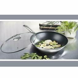 Nonstick 18/10 Stainless Steel 12-inch Wok Stir-Fry Pan with