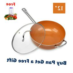 """Original Copper Pan 12"""" Non-Stick Wok with Lid for Frying Bu"""