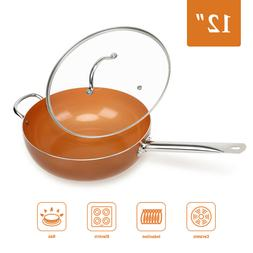 """Original Copper Pan 12"""" Non-Stick Wok with Lid for Frying Ba"""