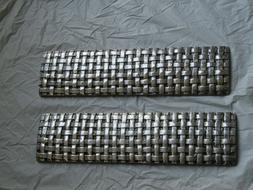 Pair of Basket Weave 12 inch trim Ceramic Tiles in Silver Gl