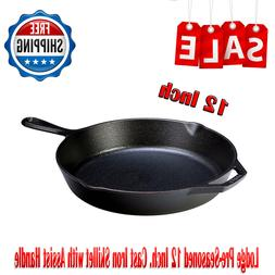 Lodge Pre-Seasoned 12 Inch Cast Iron Skillet w/ Assist Handl