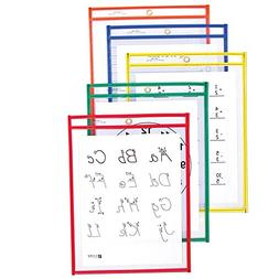 C-Line Reusable Dry Erase Pockets, 9 x 12 Inches, Assorted P