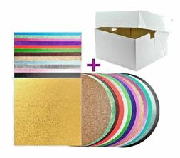 Round & Square Cake Board, Drum with Cake Box and Lid All Si