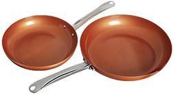 "2 Pack Copper Chef Round Fry Pan 10"" & XL 12"" Induction Plat"
