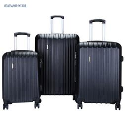 3Pcs Luggage Set Travel Bag ABS Trolley Spinner Suitcase Wit