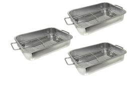 Set of 3 Stainless Steel 16 x 12  inch Lasagna Roasting Pans
