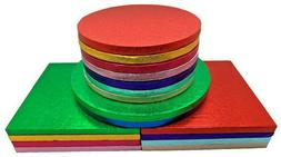 Single Colourful Cake Board Round / Square Party Thick Drum