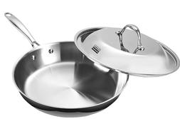 Stainless Steel Dome Lid 12-Inch Multi-Ply Clad Fry Pan Silv