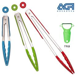 Set Of 3- 7, 9, 12 Inch Stainless Steel Kitchen Tongs With S