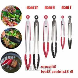 Stainless Steel Silicone Kitchen Tongs,Set of 3 - 7, 9, 12 I