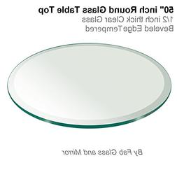"50"" Inch Round Glass Table Top 1/2"" Thick Tempered Beveled E"