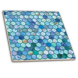 3dRose Trendy Blue Sea Feminine Faux Glitter Honeycomb Hexag
