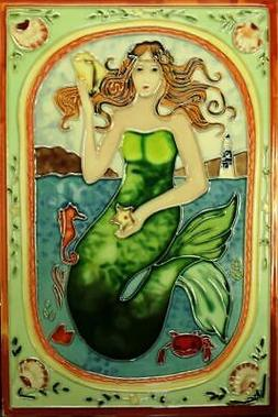Tropical Ocean Mermaid and Sea Life 8x12 Inches Ceramic Tile