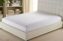White Solid Fitted Sheet Only 100% Cotton Mattress Full Elas