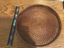 Woven strong solid Tray With Handles. 12 inches.
