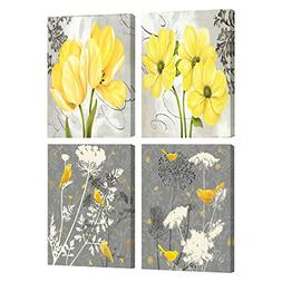 Yellow and Gray Grey Flower Birds Wall Art Abstract Floral P